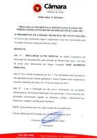 Luto oficial de 3 dias úteis e ponto facultativo no poder legislativo do município.